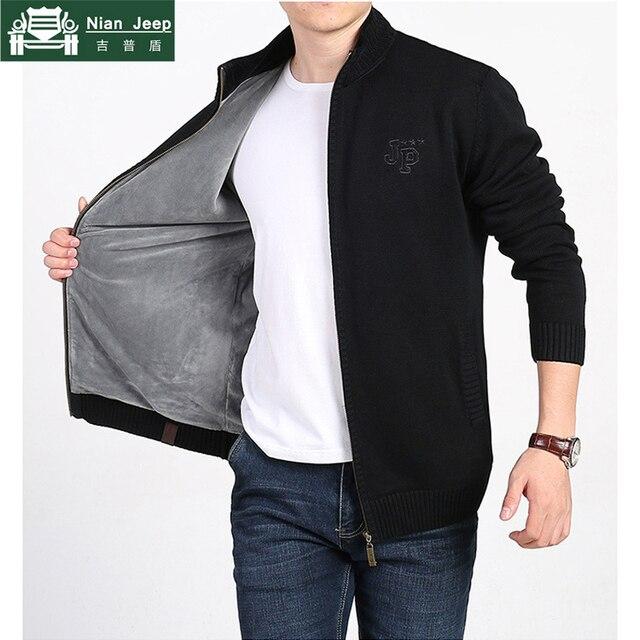 Новый плюс бархатный зимний свитер мужской бренд AFS JEEP однотонный кардиган на молнии мужские свитера сохраняющий тепло кардиган с стоячим в...