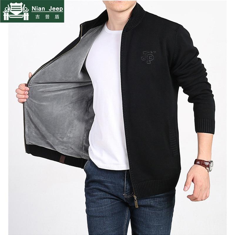New Plus Velvet Winter Sweater Men Brand AFS JEEP Solid Cardigan Zipper Mens Sweaters Keep Warm Stand Collar Cardigan Masculino