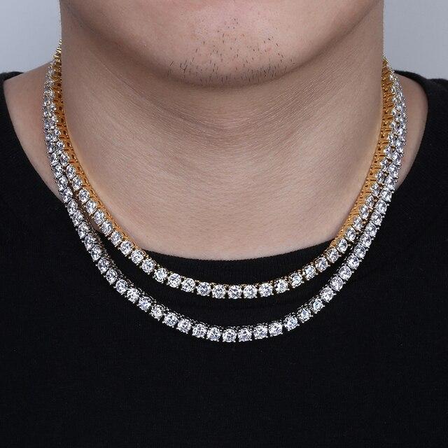 3 мм ледяной Bling AAA Zircon 1 ряд, цепочка для тенниса, мужское ожерелье, хип хоп ювелирные изделия, Прямая поставка