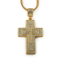 Wholesale Bling Jesus 18K Gold Plated Chunky Necklaces Crystal Iced Out Cross Pendants Egyptian Chains Hip