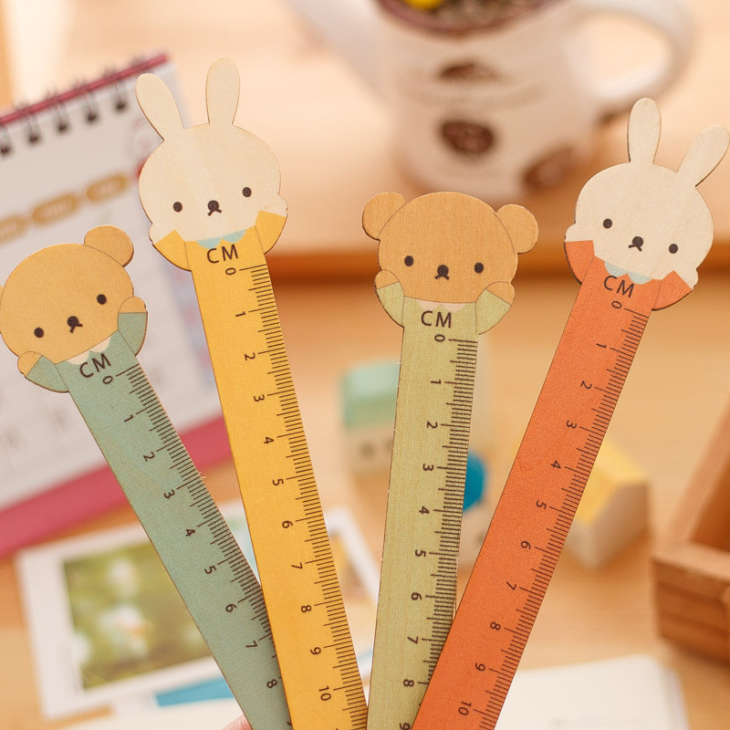 Cute Korean Stationery Wood Ruler Kawaii Bear Rabbite Styling 15cm Wooden Rulers Random Color Students Drawing Tools School Gift