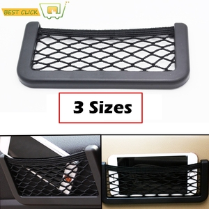 Image 1 - 3 Sizes Car Net Organizer Pockets Car Storage 20*9CM/17*8 CM/14*8CM For Tools Mobile Phone Seat Side Net Automotive Bag Black