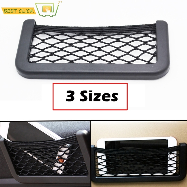 3 Sizes Car Net Organizer Pockets Car Storage 20*9CM/17*8 CM/14*8CM For Tools Mobile Phone Seat Side Net Automotive Bag Black