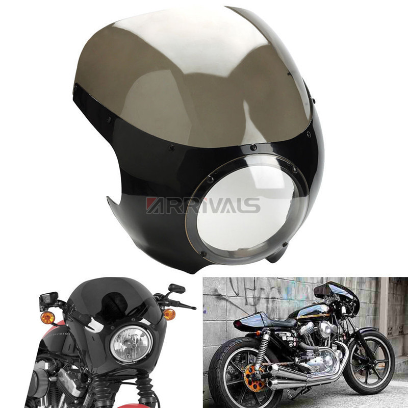 цена на 5 3/4 Cafe Racer Headlight Fairing Windscreen For Harley Sportster XL 883 1200 72 Dyna