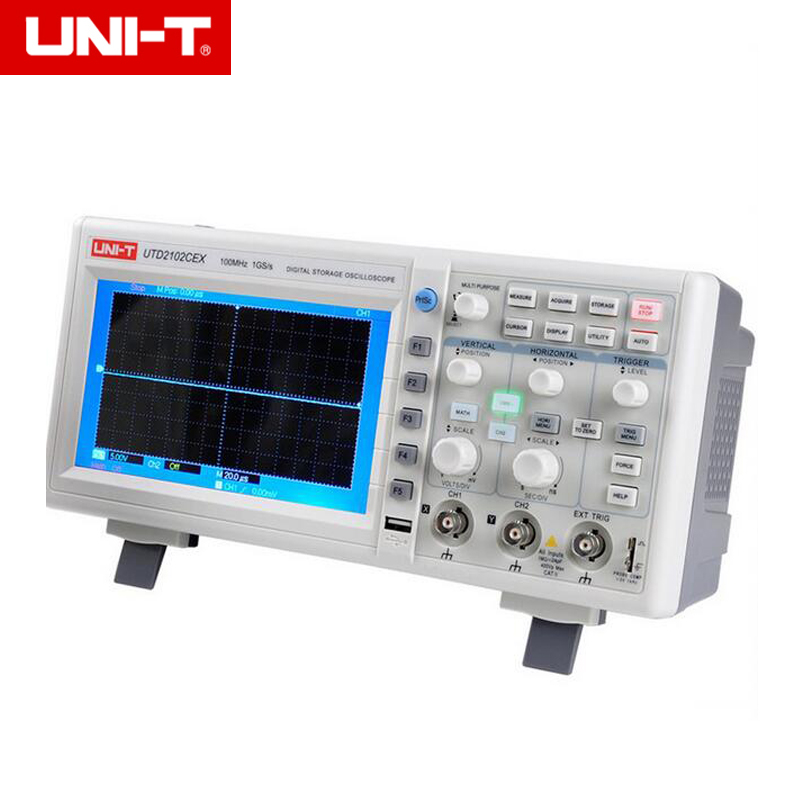 UNI-T UTD2102CEX 1GSa Digital Storage Oscilloscope 7 LCD 800*480 100 MHz 2 Canaux USB OTG interface