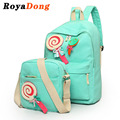 RoyaDong 2017 School Bags For Teenager Girls Canvas Women Backpacks Set With Sweet Bow Cute Candy Backpacks Designer Book Bag