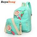 Royadong 2017 lona de las mujeres mochilas mochilas escolares para las niñas adolescentes conjunto con arco dulce caramelo lindo mochilas diseñador bolsa de libros