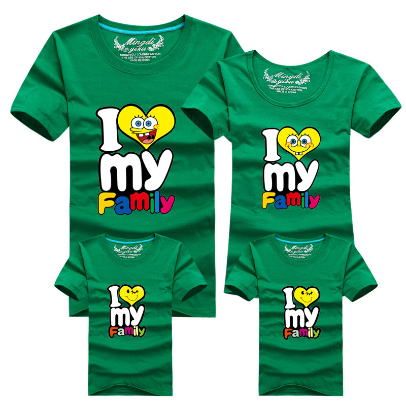 7e286874d34 Summer Style Family Matching Outfit Cotton Letter Print Short Sleeve T shirt  Family Spongebob Shirt Blouse-in Matching Family Outfits from Mother & Kids  on ...