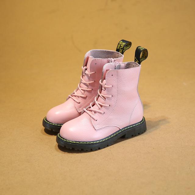 Niñas de cuero genuino botas de invierno otoño 2016 nuevos niños shoes soltero coreano niños niñas martin botas niños casuals