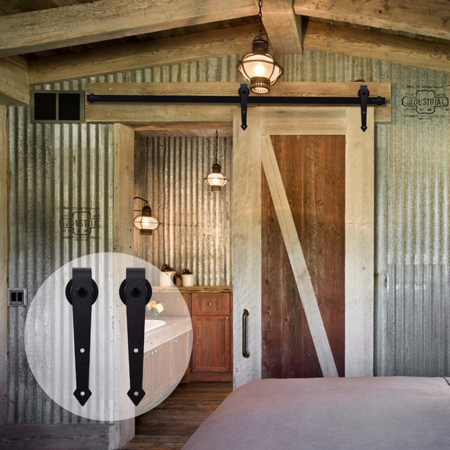 LWZH Industrial Style Sliding Barn Door Steel Hardware Kit Closet Track Set  Black Arrow Shaped Hangers