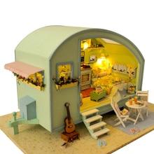 Diy casa de boneca de madeira casas de bonecas em miniatura kit de móveis brinquedos para crianças presente tempo viagens casas de boneca A 016