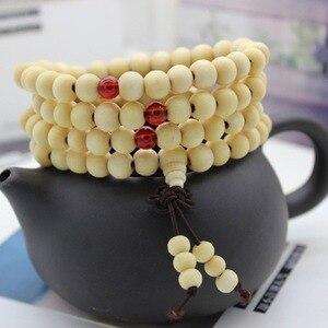 Image 3 - 6/8mm Natural Sandalwood Buddhist Buddha Meditation Beads Bracelet For Women Men Prayer Bead Rosary Hanging Decoration #280748