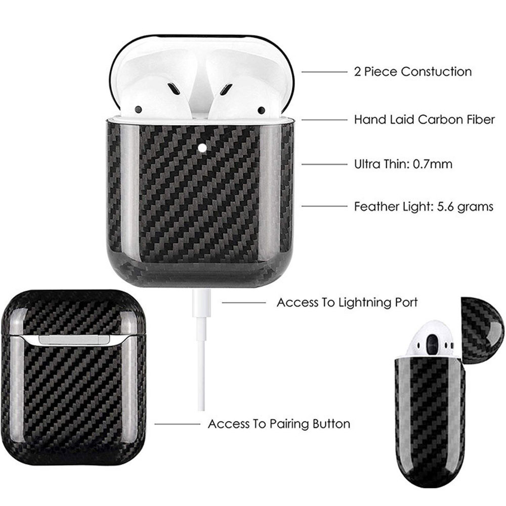 Carbon Fiber LED Earphone Case For Apple AirPods 2 Wireless Real Protective Cases Cover Accessories