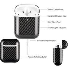 Углеродное волокно наушники со светодиодами чехол для Apple AirPods 2 беспроводной чехол из настоящего углеродного волокна защитные чехлы аксессуары для наушников