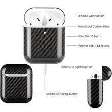 Carbon Fiber LED Earphone Case For Apple AirPods 2 Wireless Case Real Carbon Fiber Protective Cases Cover Earphone Accessories