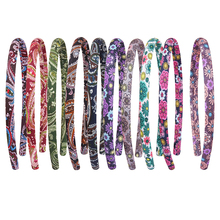 Candygirl 1pc Boho Flower Fashionable Printed Headbands 10 Colors Elastic Satin Hair Bands Kids Girl Hairband Accessories