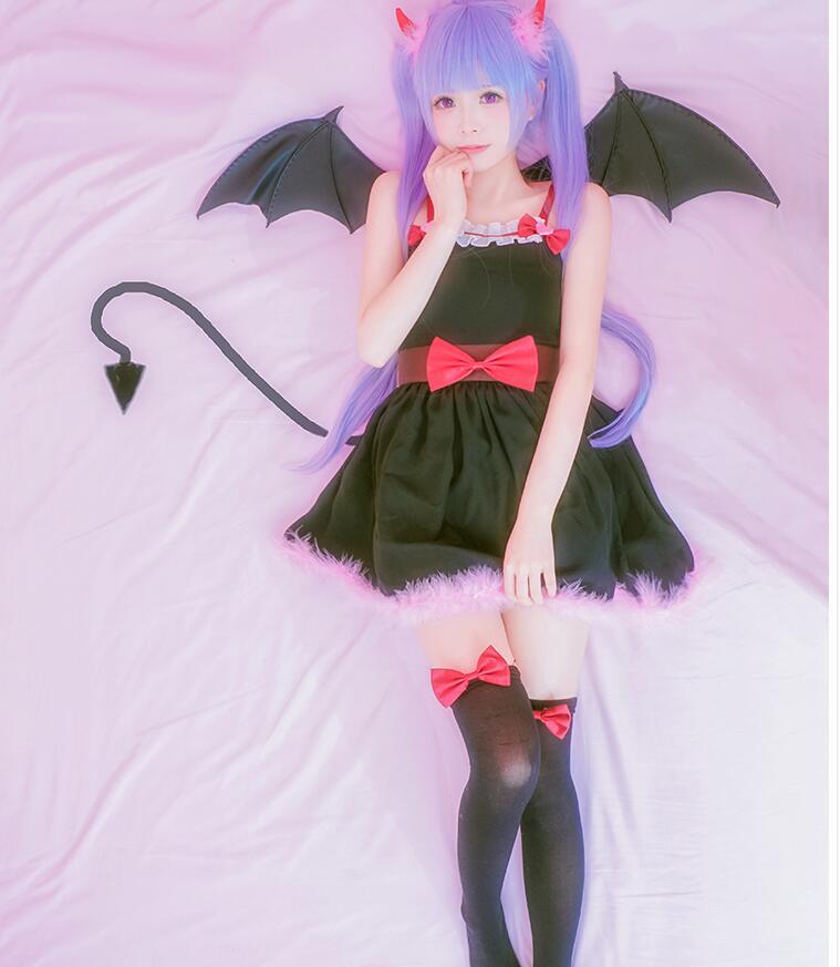 Бесплатная доставка Аниме новая игра Косплэй suzukaze Аоба COS Halloween Party Полный набор 4in1 (демон рога + юбка + Носки + Носки лук)