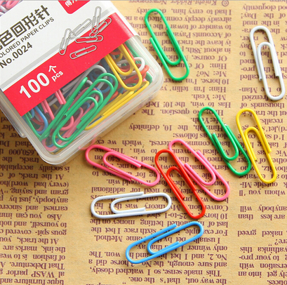 100Pcs/set art colorful Simple Plain Steel Paper Clips 29mm Paperclips Metal Silver Stationery Childrens Favourite OBT003