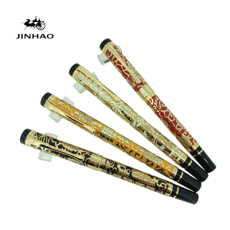 Jinhao 5000 Luxury Roller Ball Pens Gold Dragon Embossed Ballpoint Pen with 0.7mm Refill for Gift Free Shipping black jinhao ballpoint pen and pen bag school office stationery brand roller ball pens men women business gift send a refill 013