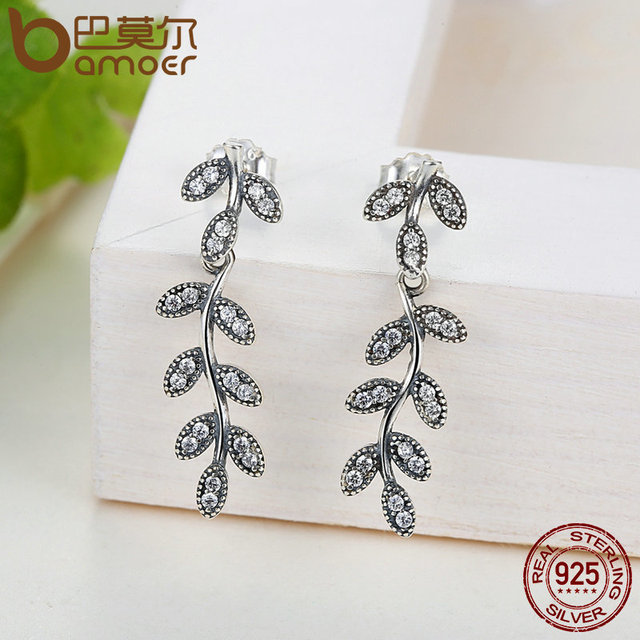 Sterling Silver Sparkling Leaves Jewelry Set