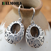 BALMORA 990 Pure Silver Flower Carving Hollow Drop Earrings For Women Gift Classic Elegant Earrings Thai