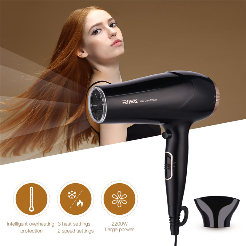 RIWA 2200W Powerful Professional Hair Dryer Hair Blow Dryer Corrugated Heating Wire Hairdryer with wind collecting nozzle 220V giftforall hair dryer hotel bathroom home professional hair salon powerful wall mounted portable mini hairdryer d139 d