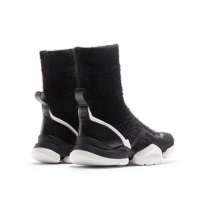 Chaussures Bottes En 2018 De Mujer Martin Automne Ugi Botas D'hiver Mode Véritable Chaud Noir Plat Femmes Cuir jLVMUpGSqz