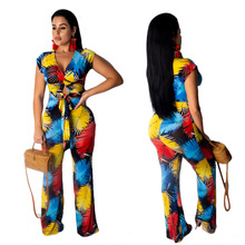 2019 new European and American printing sports suit large size beach wind sexy two-piece BONJEAN