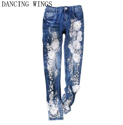 European Fashion Rhinestones diamond applique jeans blue hole ripped casual denim pants women new 2016 fashion brand women washed denim casual hole romper jumpsuit overalls jeans macacao feminino vintage ripped jeans