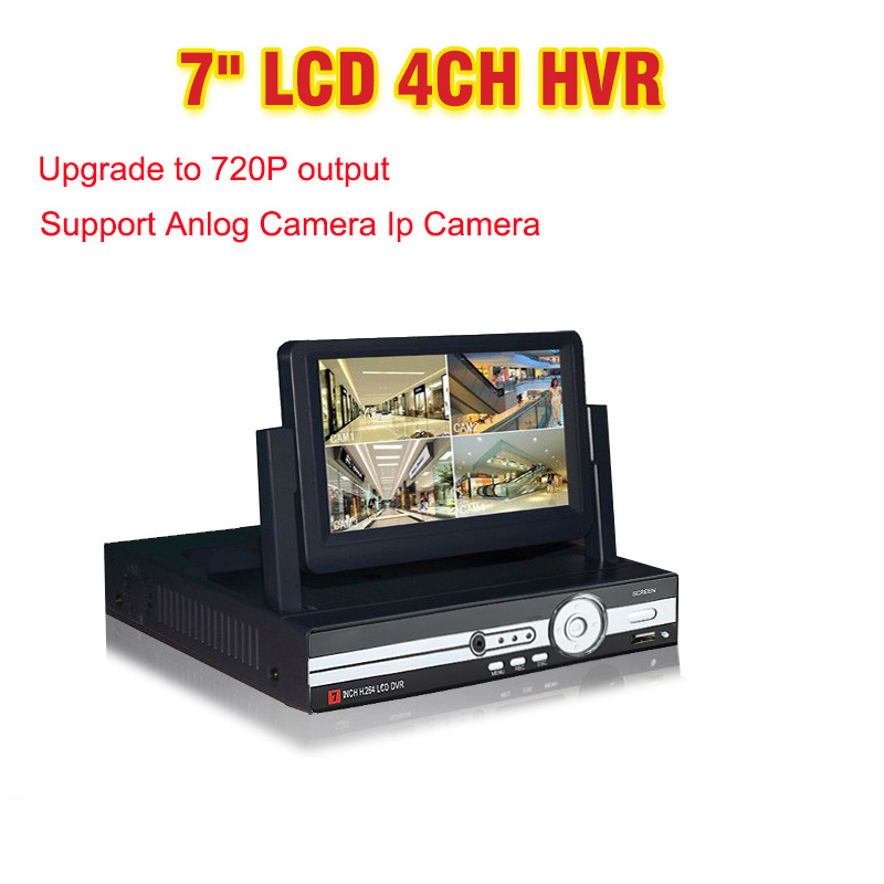 7 LCD Monitor CCTV 4CH Channel DVR 720P Recorder HDMI Output AHD DVR 4 channel HVR DVR NVR Support Analog IP Camera 3G WIFI 4 ch channel 720p ahd 7inch lcd hybrid hvr nvr cctv dvr recorder support ahd analog ip camera mobile phone viewing