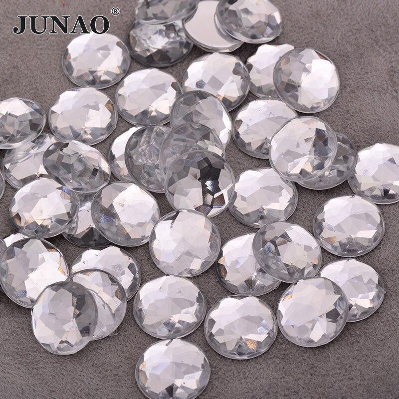 JUNAO на возраст 6, 8, 10, 12 лет 14 16 18 20 25 30 мм прозрачный белый кристалл плоской задней Стразы, не Швейные акриловые камни Клей на камни для ремесел