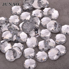 JUNAO – grands cristaux blancs clairs, 6 8 10 12 14 16 18 20 25 30mm, gros Strass, pierres acryliques rondes Non cousues