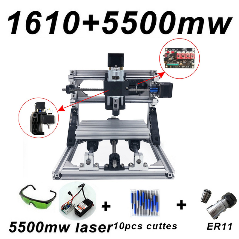 CNC1610 Laser Engraving Machine ER11 With 500mw 2500mw 5500mw Head GRBL Wood Router PCB Milling Wood Carving Machine DIY Mini