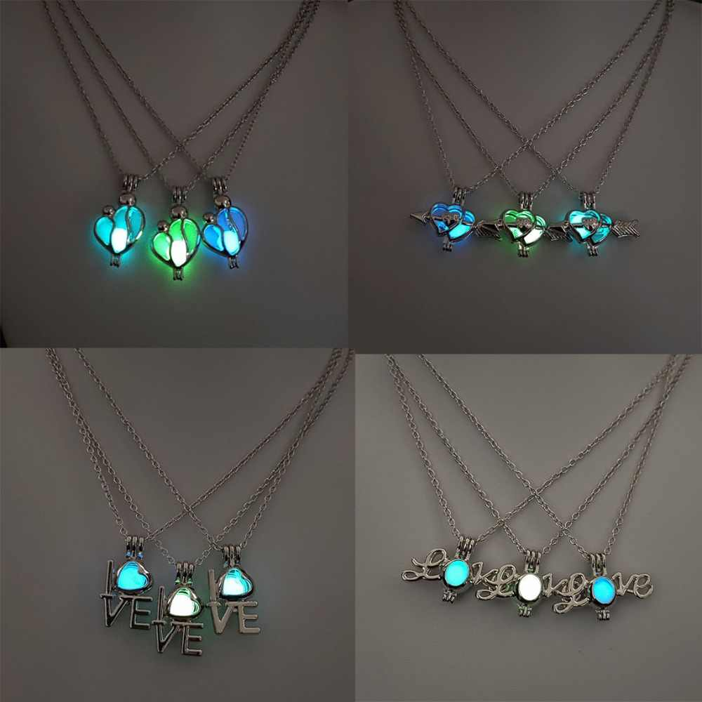 Rinhoo Hot Unique Glowing Heart Wing Pendent Necklace Geometric Hollow Luminous Charm Necklace For Women Best Party Jewelry Gift