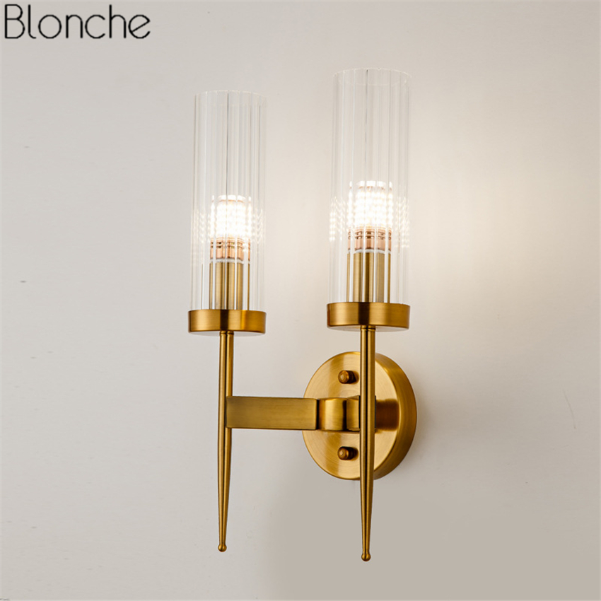Post Modern Gold Wall Lamp Led Mirror Wall Light Glass Lampshade Sconce for Bedroom Kitchen Stair Home Fixtures Industrial Decor modern glass ball wall lamp led gold wall sconce loft industrial light living room bedroom stair home fixtures decor luminaire