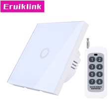 EU/UK Standard Wireless Remote Control Wall Switch, 1 Gang 1 Touch Switch for RF433 Smart HomeWay White Glass Panel Linght latest remote control switch 2 gang 1 way white crystal glass switch panel remote wall touch switch led indicator for smart home
