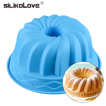SILIKOLOVE Cake Baking Dish Tray Baking Silicone Molds Oven Pan Safe Spiral Round Hollow Shaped Cake Pans Bakeware Trays Hot
