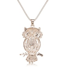 Stylish Gallant Sparkling Owl – Crystal Charming Flossy Necklaces & Pendants – Necklace For Women