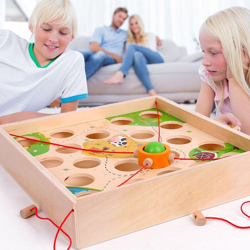Drôle créatif tirer balle jeu de Table enfants en bois labyrinthe enfants éducation précoce intellectuel Parent-enfant jouet