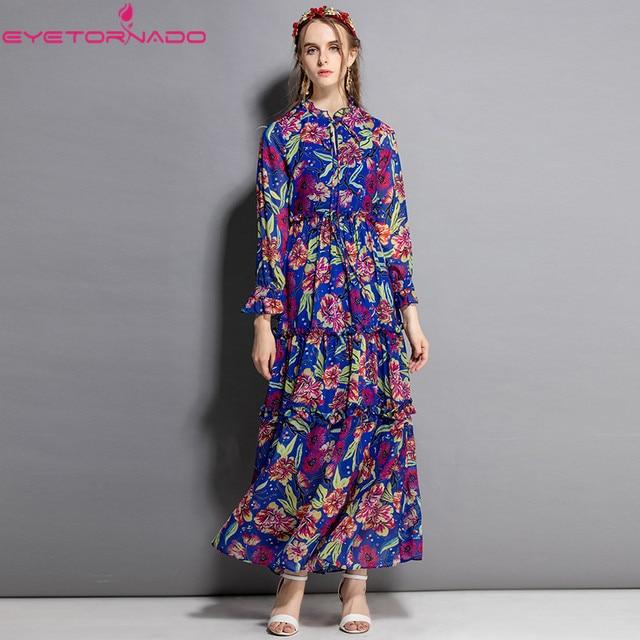 S-2XL Women fashion floral print O neck long sleeve casual work autumn vintage runway elegant maxi party dress vestidos