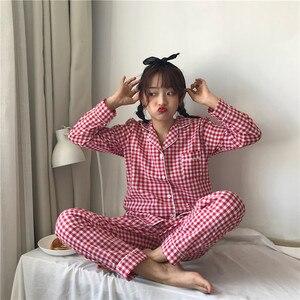 Image 4 - 2019 coreano feminino pijamas conjuntos com calças de algodão pijama xadrez primavera verão pijamas bonito noite wear pijamas