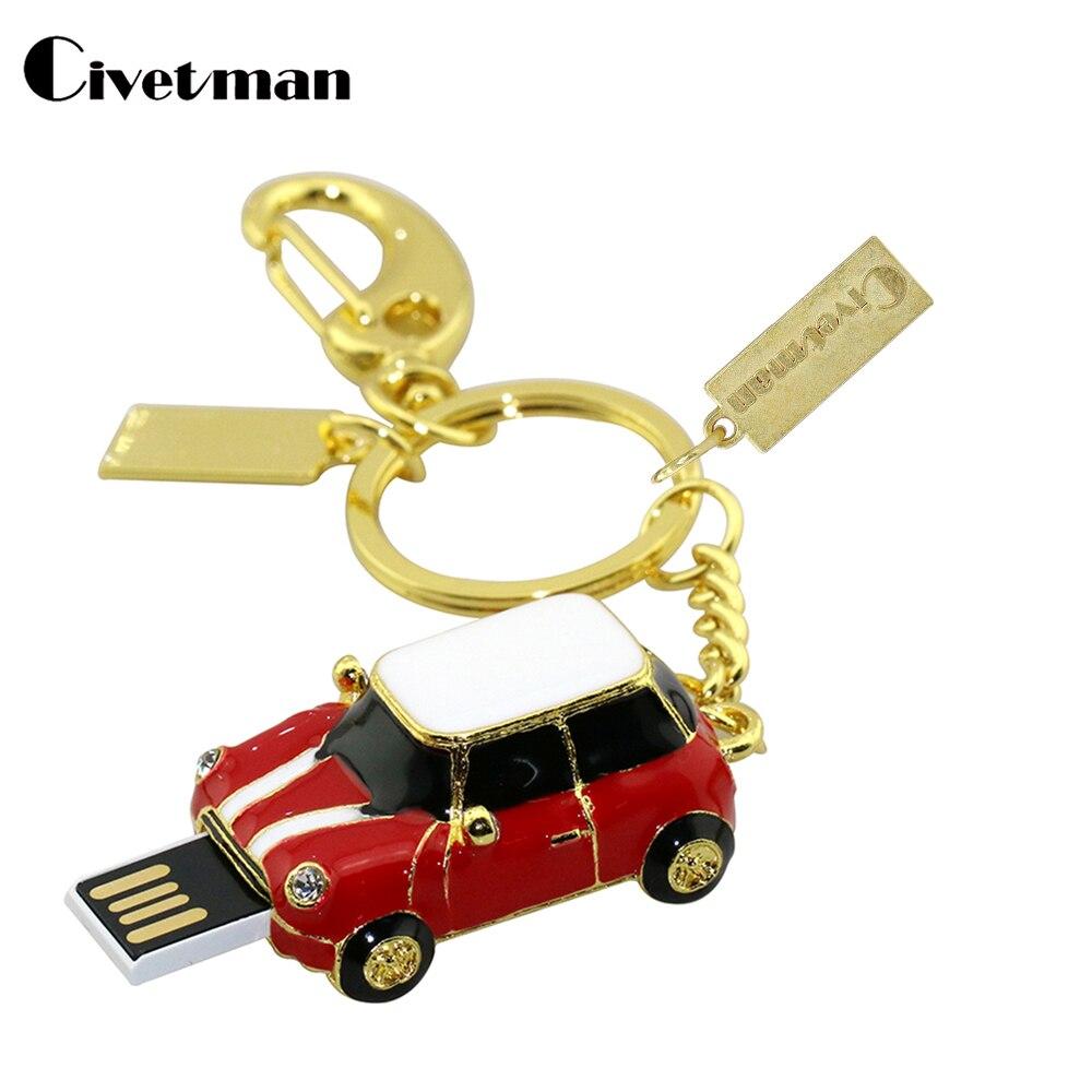 Pen Drive Mini Cooper Car Styling USB Flash Drive 8GB USB 2.0 Flash Memory Stick Disk 16GB Pendrive 32GB Pendriver with Keychain
