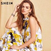 שיין הנשים הקיץ ארוך שמלות חוף Boho אופנה סגנון חדש גבירותיי צבעים פרחוניים הדפסה ללא שרוולים מקסי שמלות