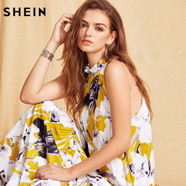 dccdfd6e70 SHEIN Womens Summer Long Beach Dresses Boho Ladies New Style Fashion  Multicolor Floral Print Sleeveless Maxi Dress