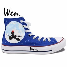 Wen Hand Painted Canvas Shoes Design Custom Anime Kiki's Delivery Service High Top Blue Men Women's Canvas Sneakers