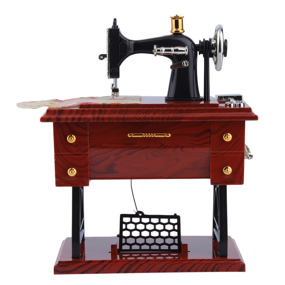 1Pc Mini Vintage Lockwork Sewing Machine Music Box Kid Toy Treadle Sartorius Toys Retro Birthday Gift Home Decor Drop Shipping