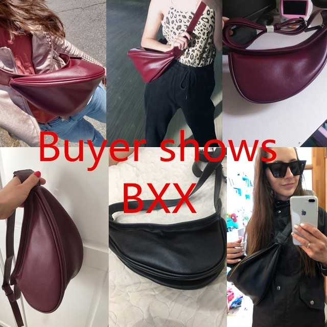 [Super Seabob] 2020 Spring Woman New Wine Red Black Color Wide Single Strap Zipper Half Moon PU Leather Chestbag All Match LI812 5