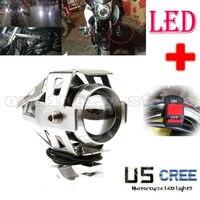 Super Bright 125W U5 LED Electric Moto Motorcycle Headlight Driving Fog Light Spot Safety Head Night Lamp + Switch