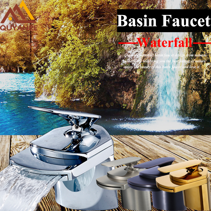 Wholesale And Retail Chrome Waterfall Bathroom Basin Faucet Single Handle Hole Sink Mixer Tap free shipping wholesale and retail chrome brass waterfall bathroom sink faucet single handle hole deck mounted sink faucet
