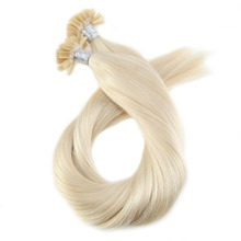 U Tip Remy Brazilian Human Hair Fusion Extensions Pre-bonded Hair Extensions Color #60 Blonde Hair Extensions 1G/1S 50G